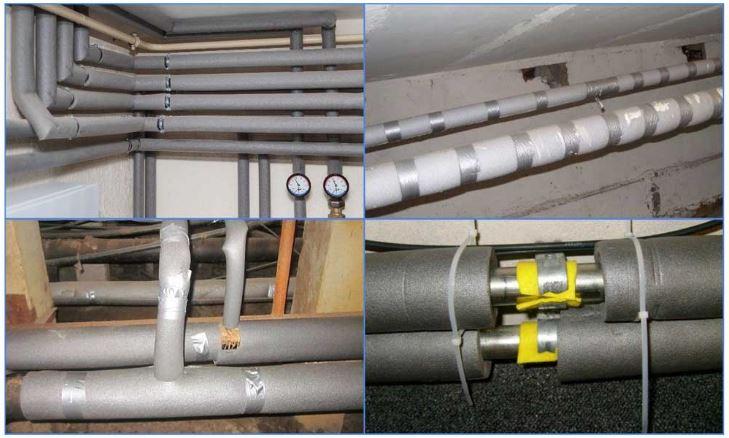 Рис. 17 ПЭ изоляция на трубу отопления в частном доме